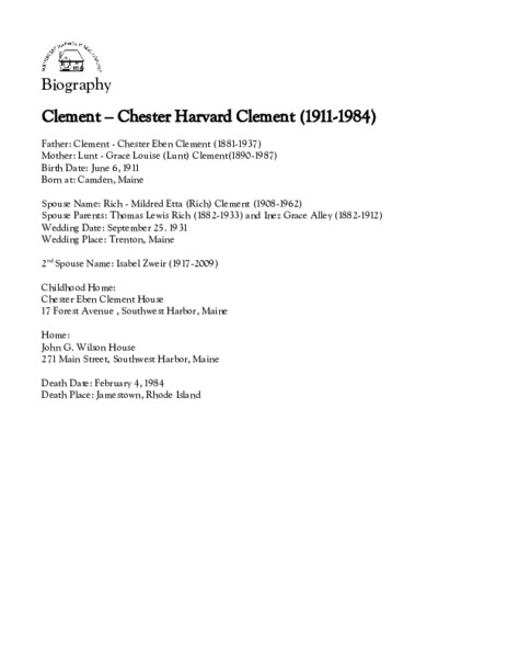 Clement - Chester Harvard Clement (1911-1984)